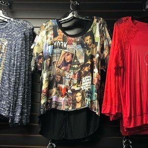 Plus Size short Sleeve multi print top blouse